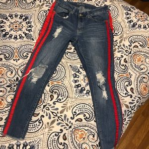 Rue 21 jeans with red stripes